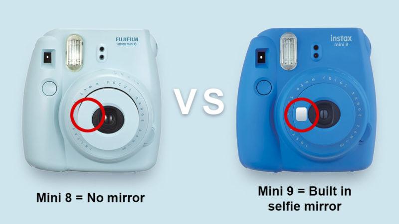 Instax Mini 8 VS Mini9 Selfie Mirror Difference